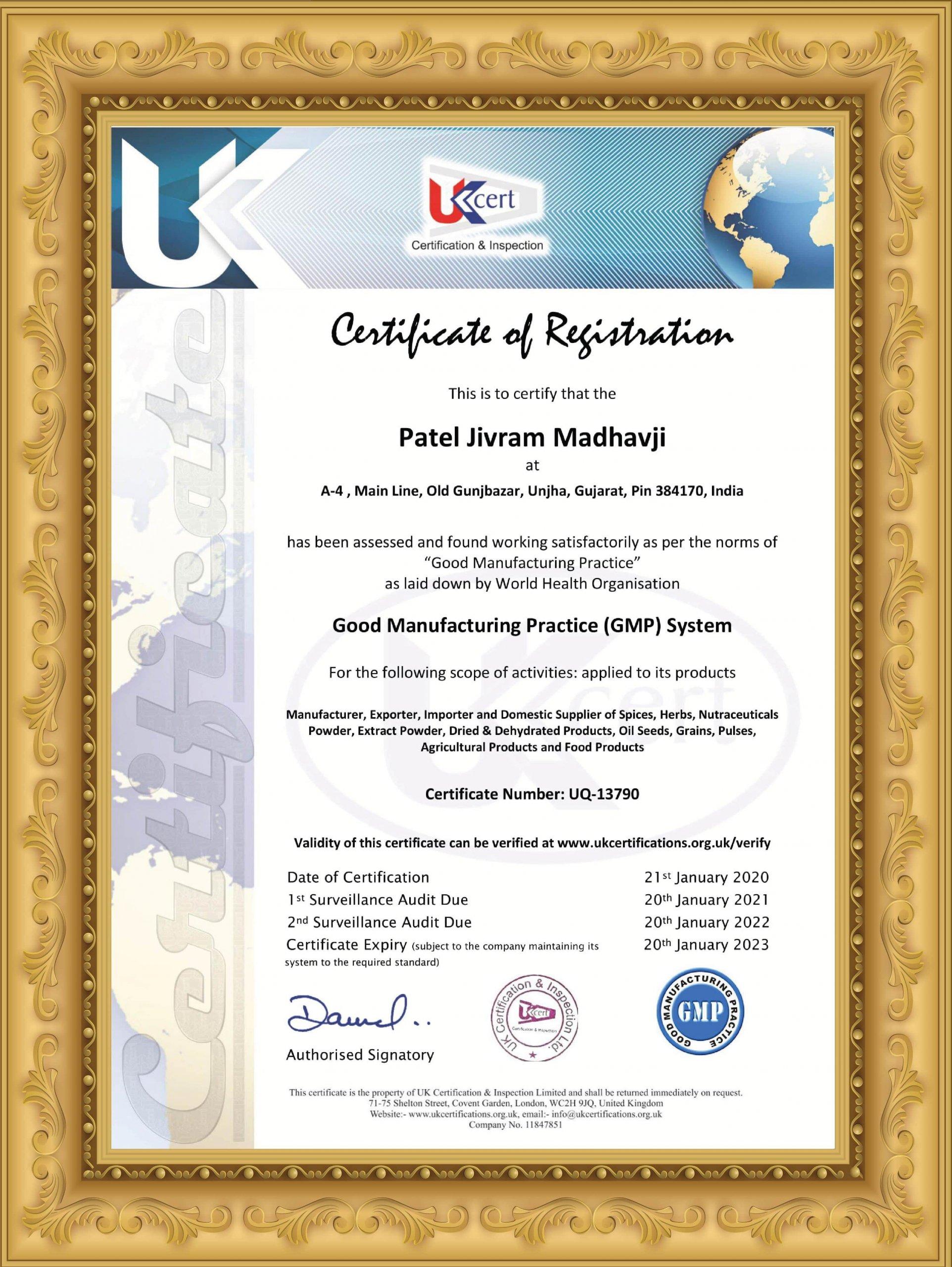 PJM GMP Certificate Unjha
