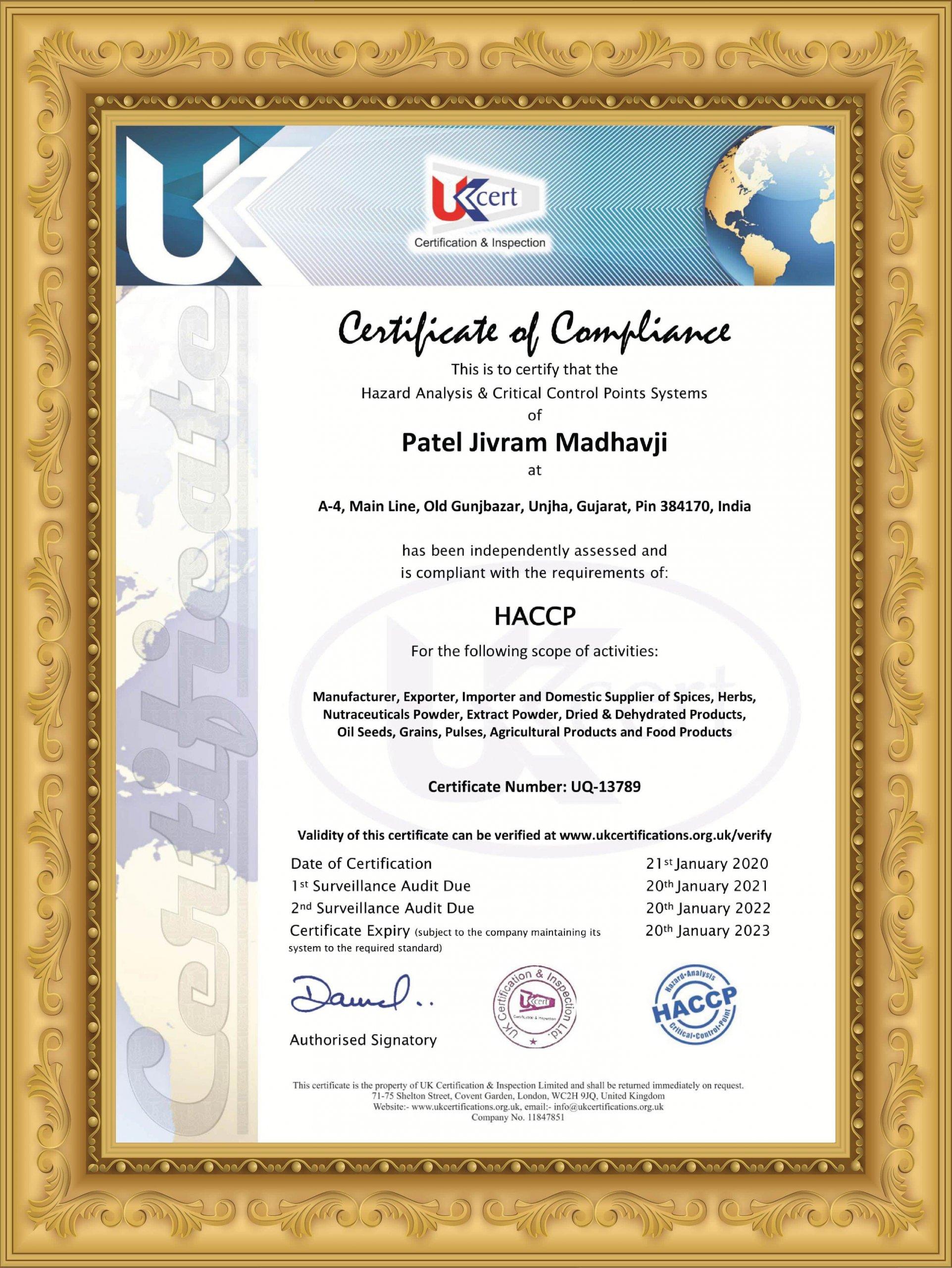 PJM HACCP Certificate PJM Unjha